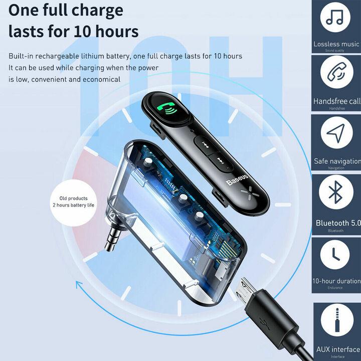 Bộ Bluetooth Receiver WXQY-01 dùng cho ô tô, xe hơi nhãn hiệu Baseus Qiyin AUX kết nối Bluetooth V5.0 thu tín hiệu âm thanh truyền từ các thiết bị di động và xuất ra cổng Audio AUX 3.5mm - Hàng Nhập Khẩu