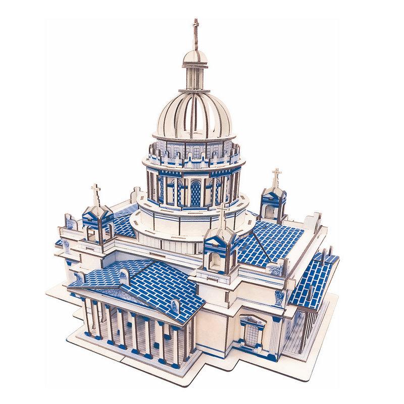 Đồ chơi lắp ráp gỗ 3D Mô hình Nhà thờ Christian Cathedral Laser Kèm đèn LED
