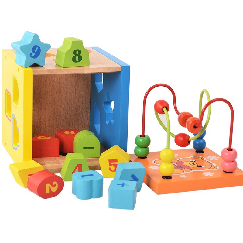 Đồ chơi gỗ đa năng- hộp thả khối kết hợp luồn hạt P giúp bé phát triển toàn diện_ đồ chơi trí tuệ