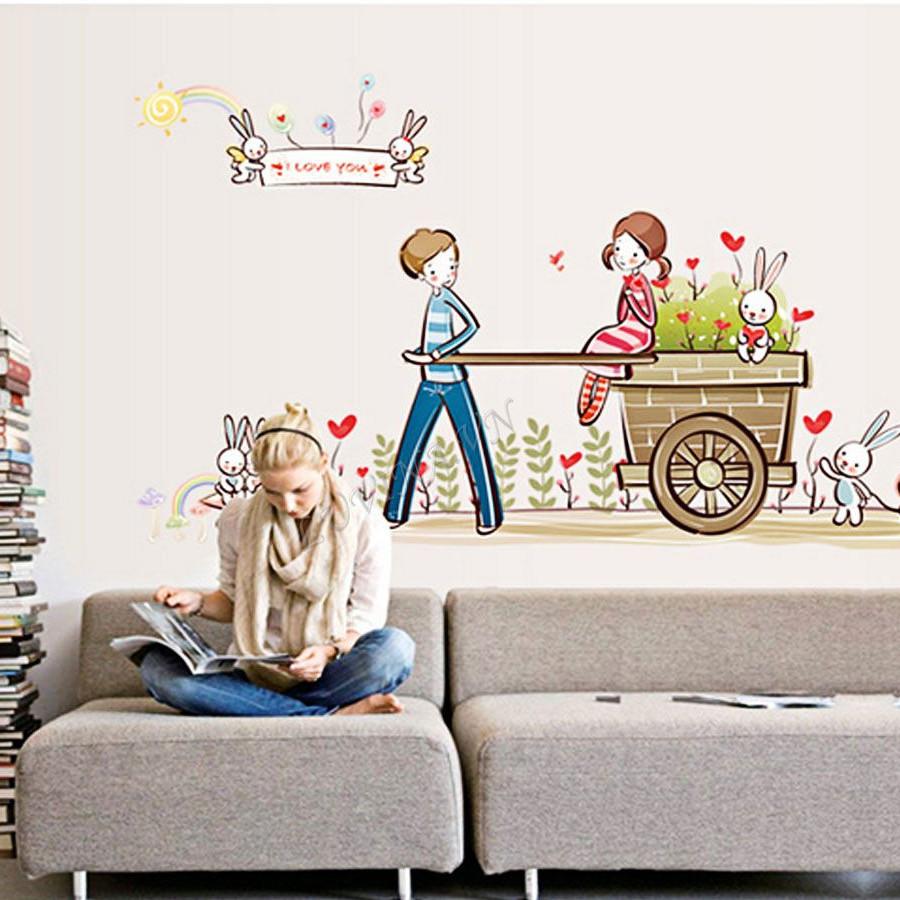 decal dán tường tình nhân hai bé kéo xe