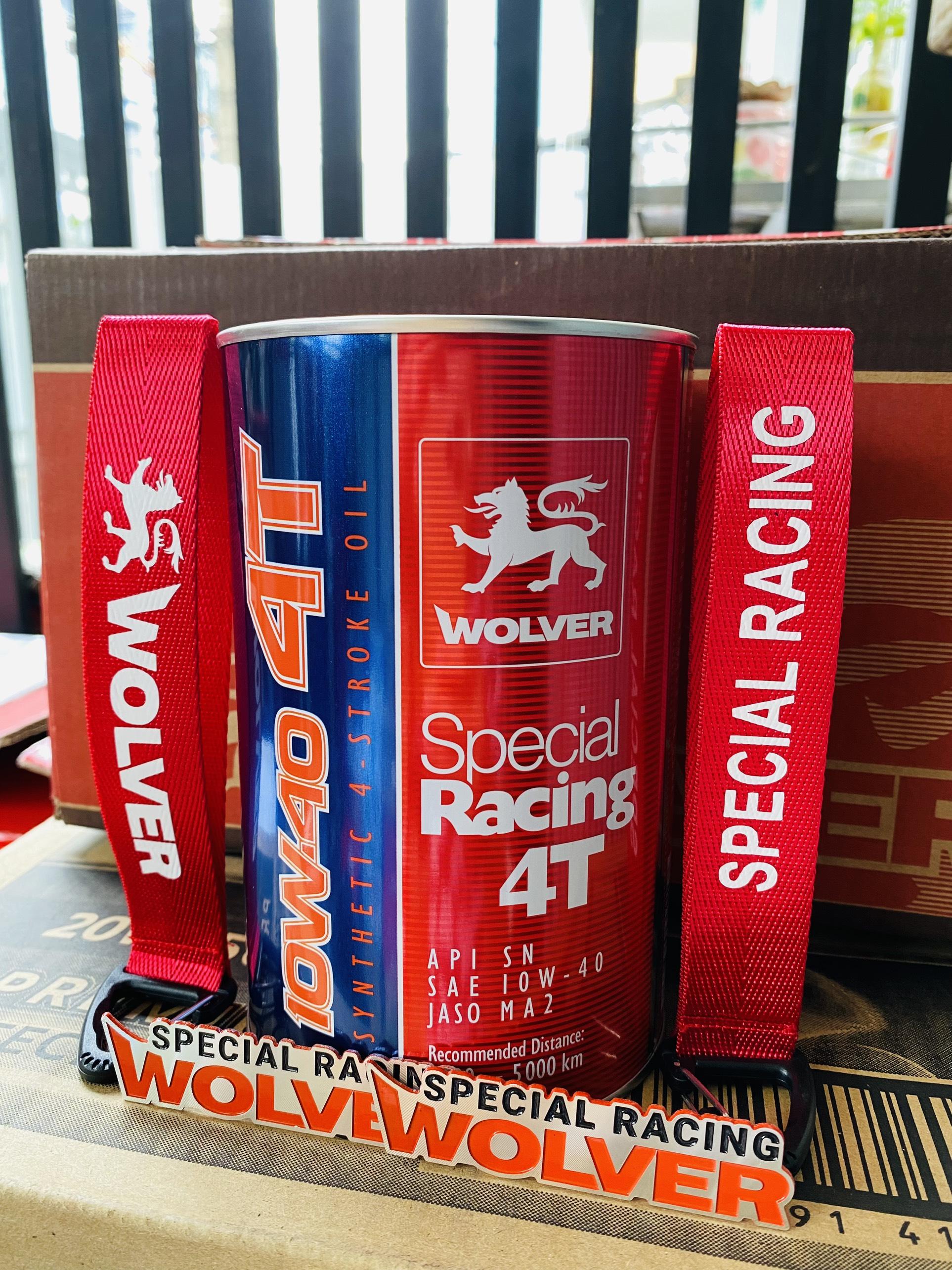 [Quà Tặng Wolver] Tem dán nhôm xướt titan (keo dán 3M siêu chắc), Móc khóa dây vải WOLVER Special Racing