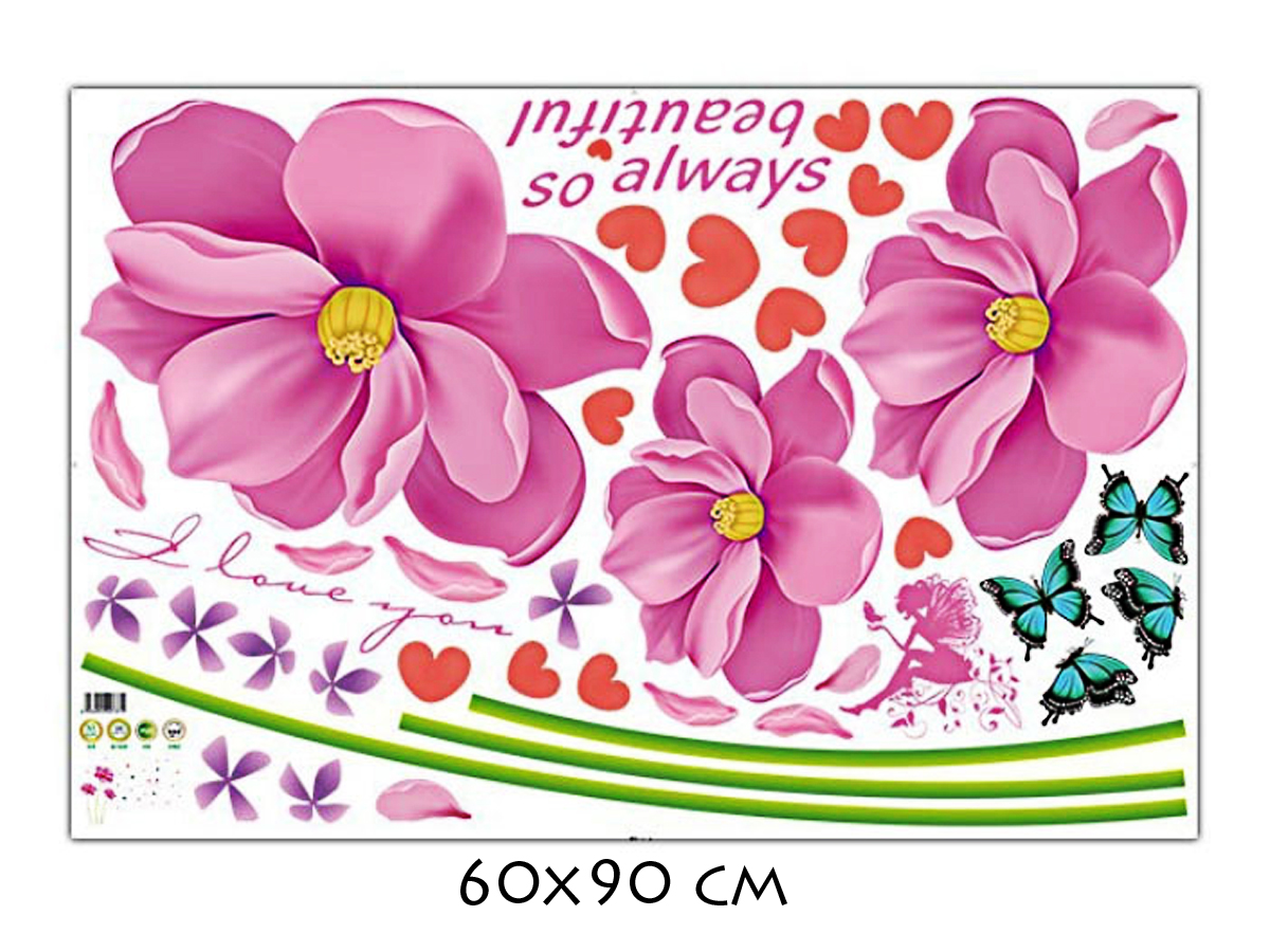 decal dán tường hoa cánh màu hồng không lá