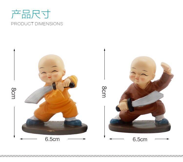 Bộ tượng 4 Chú Tiểu múa đao luyện võ để ô tô, Trang trí - Phật Duyên Shop