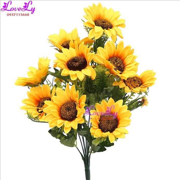 Hoa Giả - Cành hoa hướng dương giả 11 bông như thật lụa cao cấp