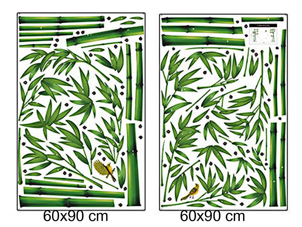 decal dán tường cây trúc xanh 2 mảnh dlx0779