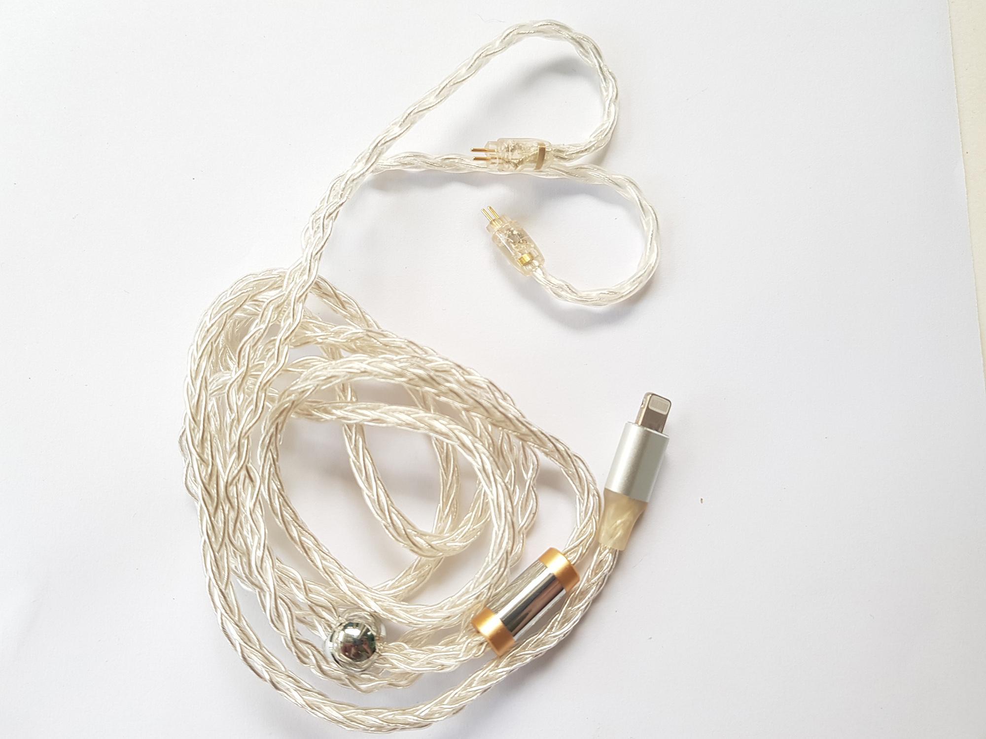 Cáp mạ bạc 8 lõi chất lượng cao cổng Lightning sang chân cắm 2P 0.78mm cho các loại tai nghe KZ TRN TFZ QKZ...Chip Apple C101 (MFI ) cho IP7 8 X XR XS...