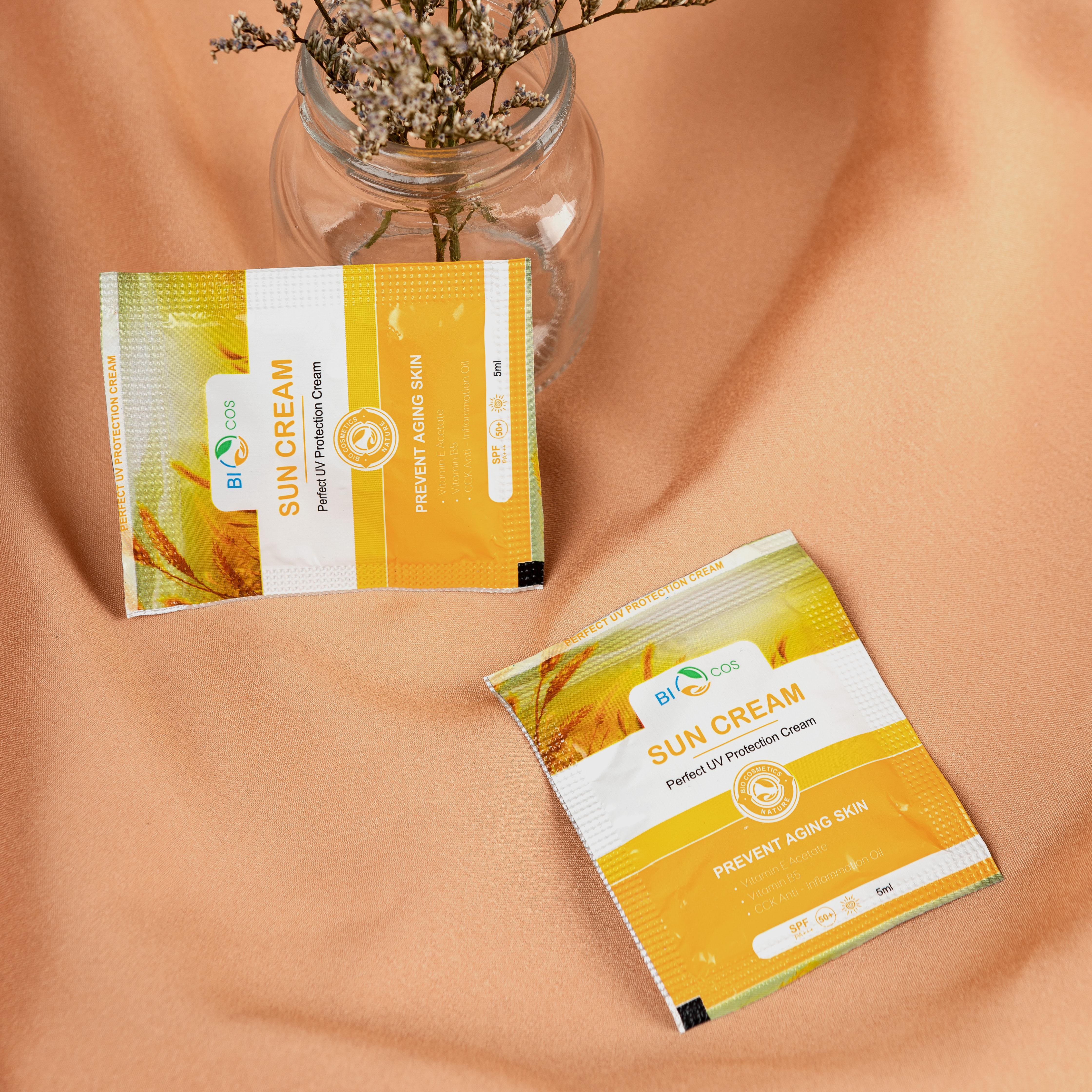 Kem Chống Nắng BIOCOS Sun Cream (Gói 5 ml) - Dưỡng Ẩm, Ngăn Ngừa Lão Hoá