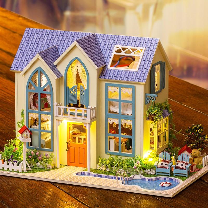 Nhà búp bê Ngôi nhà thu nhỏ lắp ghép Victorian Cottage