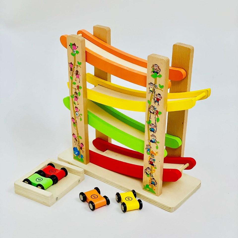 Đường đua kỳ thú - xe cầu trượt 4 tầng- đồ chơi gỗ