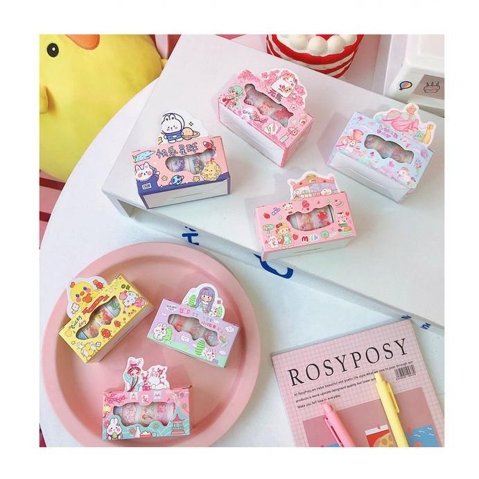 Hộp 5 cuộn washi tape nhám dễ thương nhiều mẫu - Set 5 cuộn washi nhũ siêu xinh - Corgi Shop