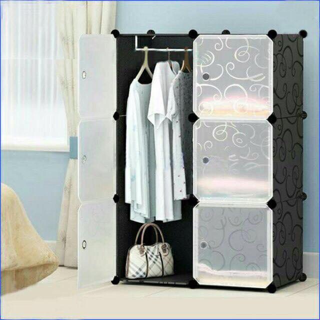 Tủ nhựa ghép 6 ô đen,cửa trắng