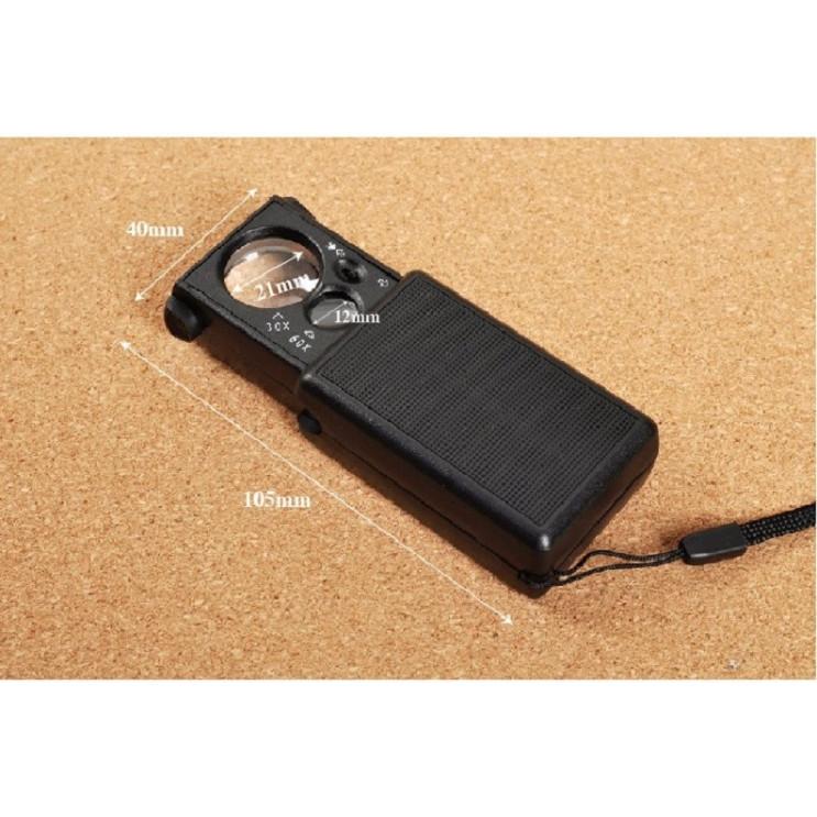 Kính lúp cầm tay mini phóng đại 30-60 lần có đèn cao cấp Ver1 (Tặng móc khóa tô vít đa năng 3in1)