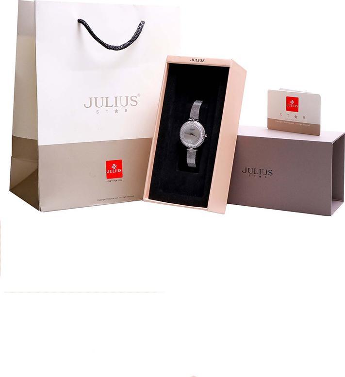 Đồng Hồ Nữ Julius Star Hàn Quốc JS-041 Viền Đính Hạt Dây Thép