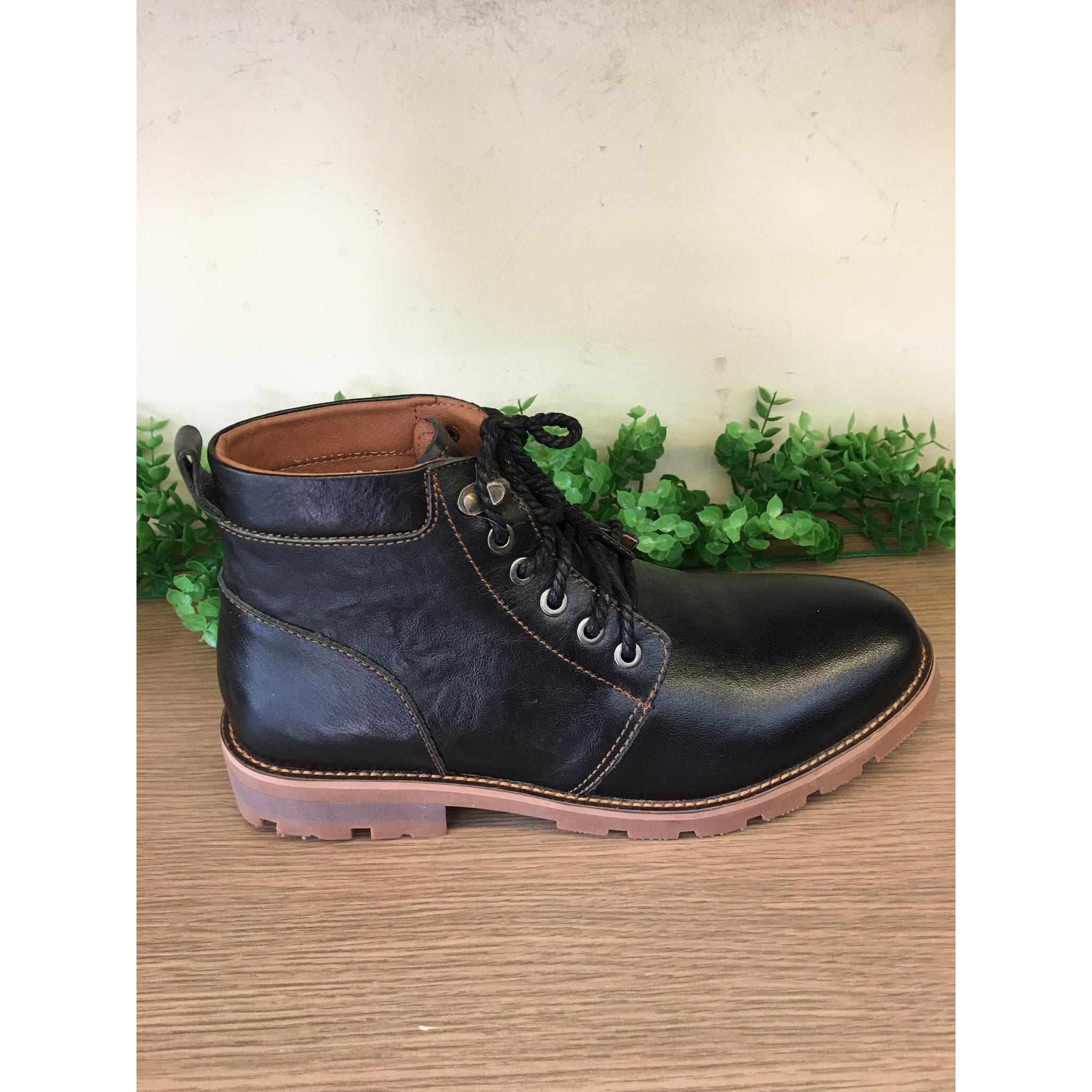 Giày Boot Nam Da Bò Màu Đen-BO2020