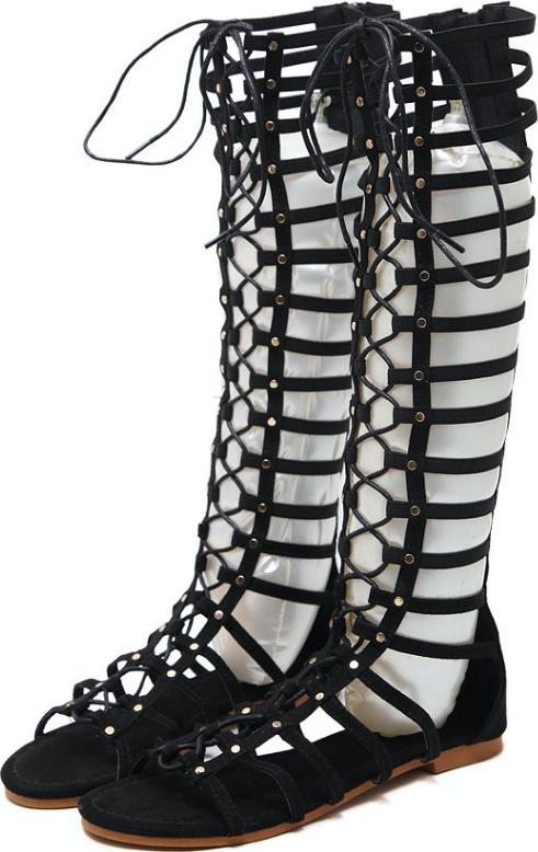 Sandal dây dưới gối đế bệt thắt dây ôm chân GCC0101