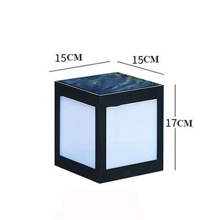 Đèn trụ hàng rào vuông năng lượng mặt trời, màu đen, nhựa ABS, trang trí ngoài trời HT712