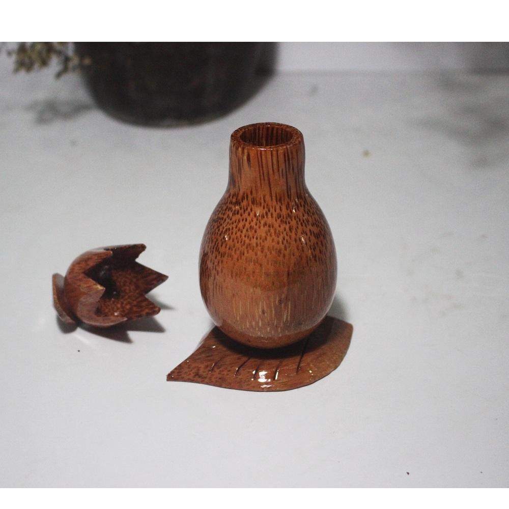 Lọ đựng tăm - hũ tăm gỗ dừa tiện cực đẹp - HT10H