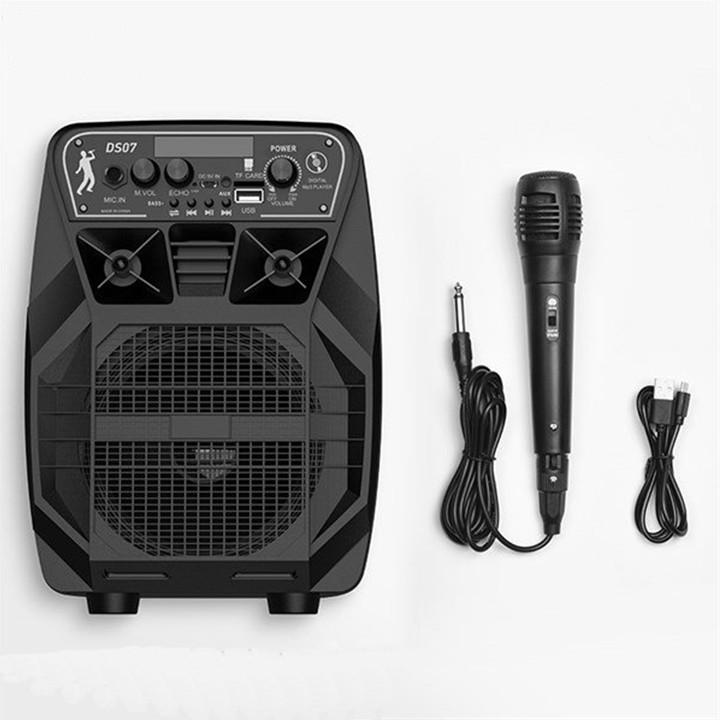 Loa karaoke mini Hoco DS07 loa bass lên đến 5.25 inch cực mạnh - tích hợp đèn led - kèm micro có dây (đen) Hàng Chính Hãng