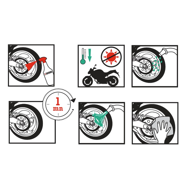 Chai Xịt Vệ Sinh Mâm Xe Vành Xe Ipone Wheel Cleaner (1L) - Hàng Chính Hãng