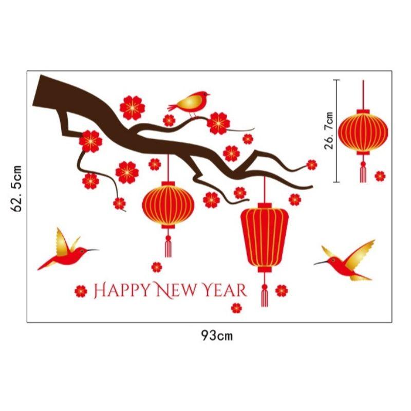 Decal trang trí Tết - Tết xuân 27 - Hoa mai va lồng đèn