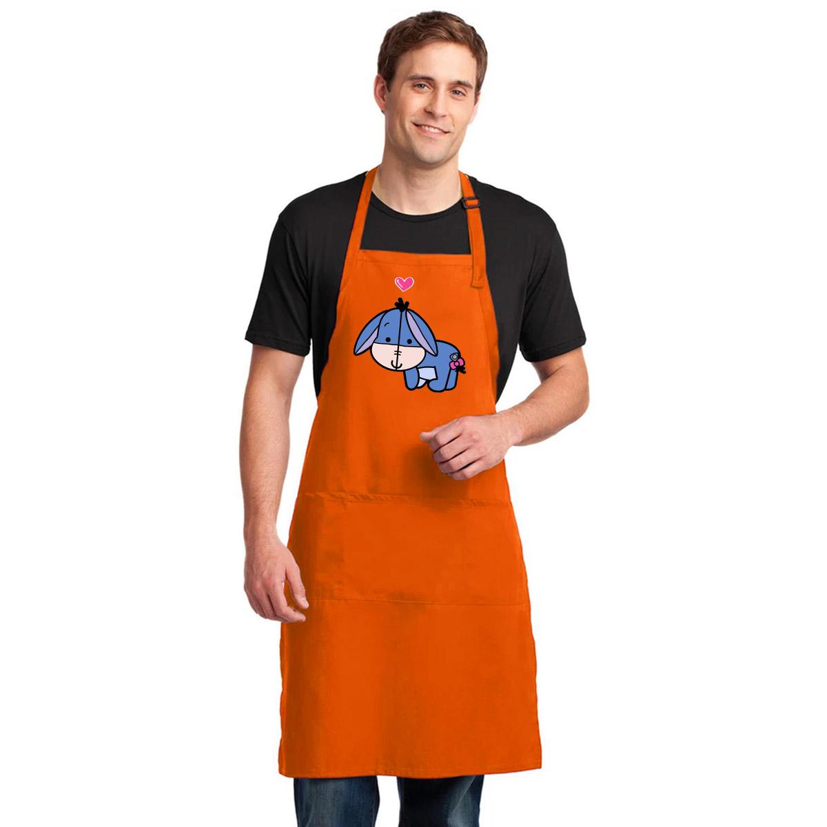 Tạp Dề Làm Bếp In Hình Chú lừa xanh - ABXDANH001-3600x4800 – Màu Cam