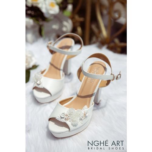 Giày cưới Nghé Art hoa voan đính nhánh hoa kim loại 284-12