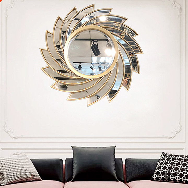 Gương phù điêu treo tường màu bạc hình lốc xoáy - 80*80