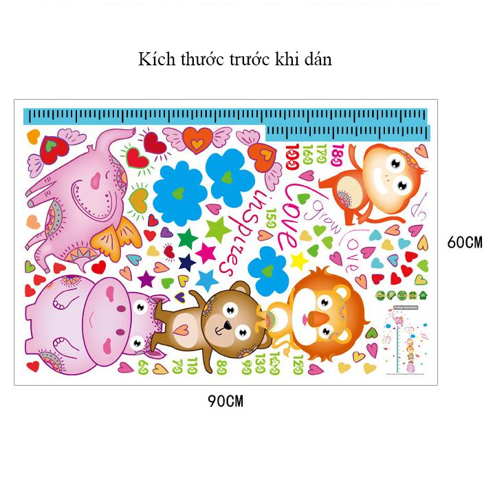 Decal dán tường Thước đo động vật ngộ nghĩnh SK9141
