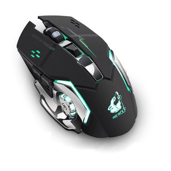 Chuột không dây game thủ tích hợp pin sạc và đèn LED, nút bấm chống ồn - Promax Free Wolf X8 (Màu giao ngẫu nhiên) - Hàng Chính Hãng