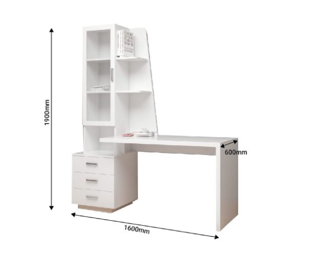 Bàn học/Bàn làm việc kèm giá sách cửa kính hiện đại cao cấp 1,9m (BH-17)