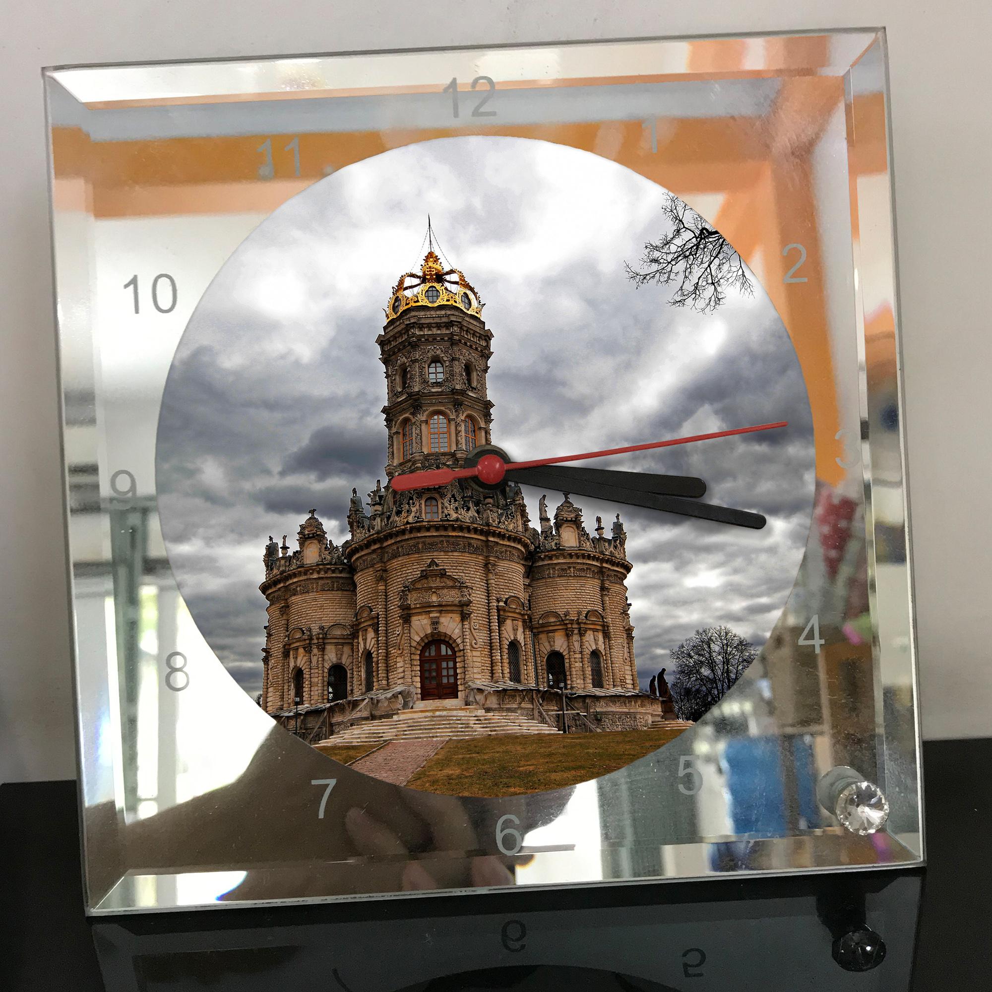 Đồng hồ thủy tinh vuông 20x20 in hình Church - nhà thờ (161) . Đồng hồ thủy tinh để bàn trang trí đẹp chủ đề tôn giáo