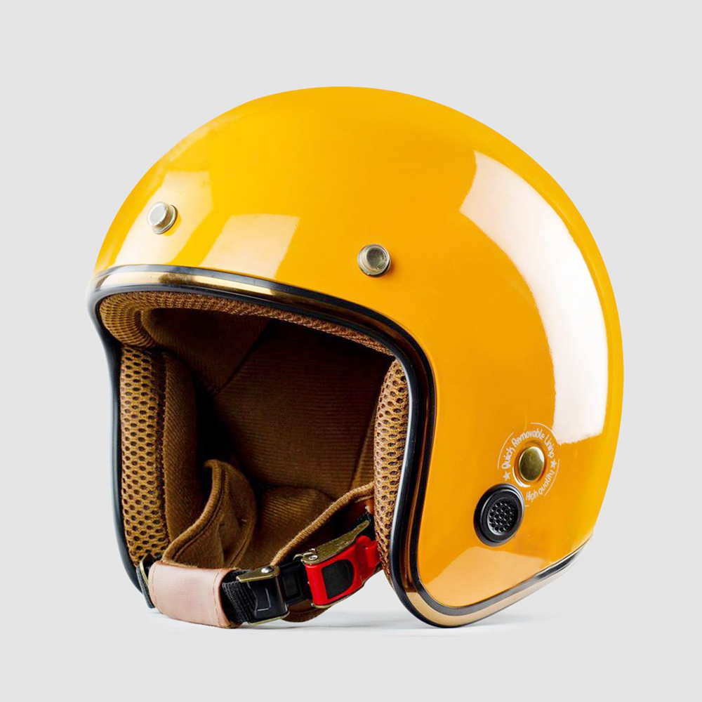 Mũ bảo hiểm 3/4 SRT Lót màu cao cấp - Vàng nghệ bóng lót nâu- có thông gió - viền đồng cao cấp