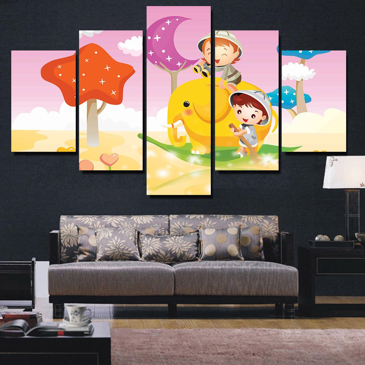 Bộ  tranh Canvas 5 Tấm Hình Chữ Nhật,In Họa Tiết Thieu Nhi, Tre Em vui Choi -Mẫu TNIN248