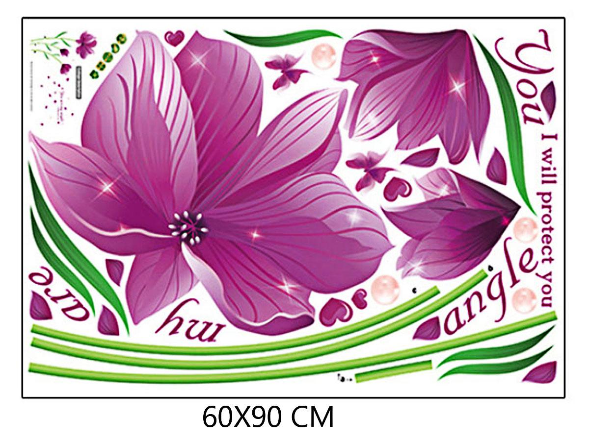 Decal dán tường hoa tím thiên thần angel sk9123