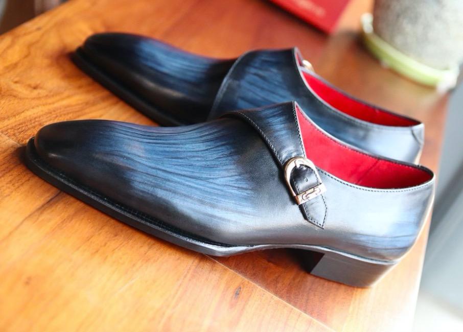 Giày tây da bò ý nhập cao cấp đế da đánh patina màu xanh nauy