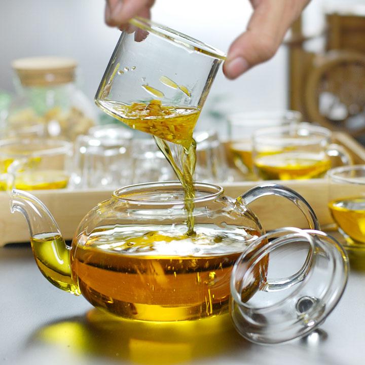 Bộ ấm chén pha trà lõi lọc thủy tinh L21