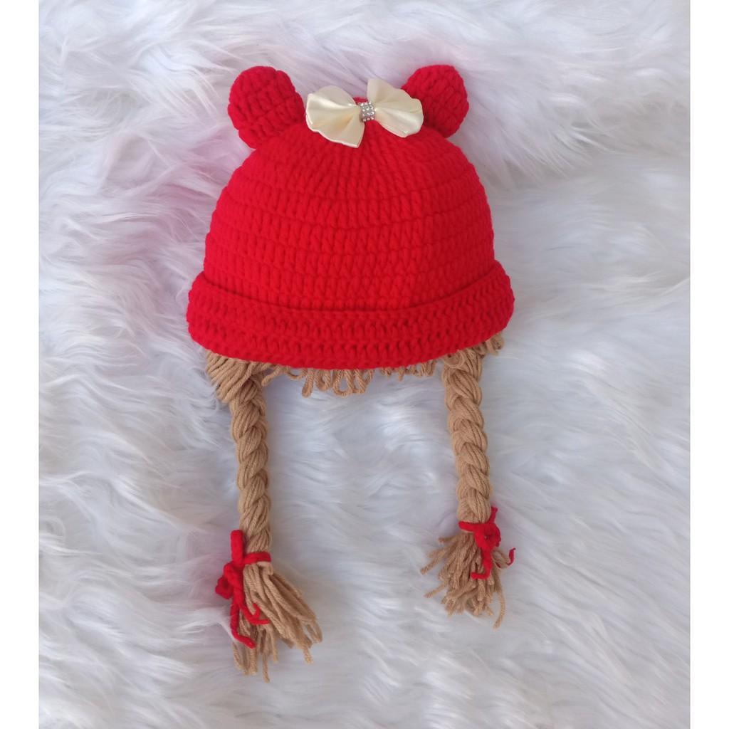 Mũ có tóc giả cho bé