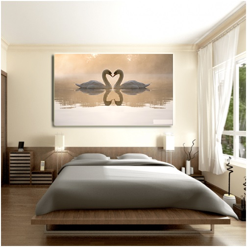 Tranh treo tường - tranh treo phòng ngủ Thiên Nga N10 /Gỗ MDF cao cấp phủ kim sa/ Chống ẩm mốc, mối mọt/Bo viền góc tròn
