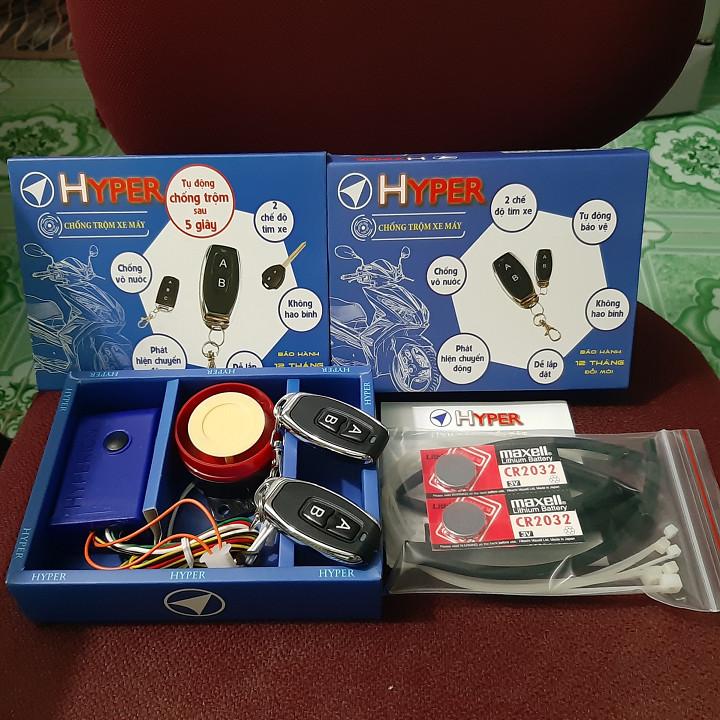 Bộ chống Trộm HYPERR cho xe máy TẶNG 2 PIN cho Remote