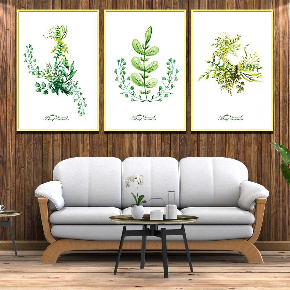 Bộ 3 tranh canvas treo tường Decor Hoa lá phong cách scandinavian - DC075