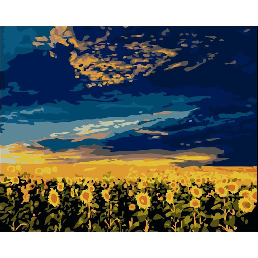 Tranh sơn dầu số hóa rẻ,đẹp-tranh tô màu theo số- tranh hoa sen đẹp 2, Tặng khăn,khung gỗ 40x50-T1