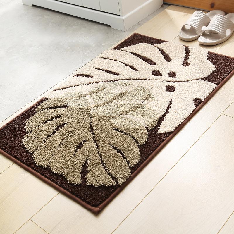 Thảm chùi chân họa tiết lá dương xỉ (lau chân) trải sàn phòng khách, bếp, tắm, ngủ KT40x60cm - TLC084