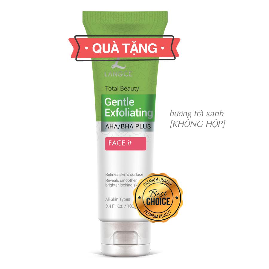 Collagen Rửa Mặt Cọ Massage Trắng Da 120ml Hộp Xanh TẶNG Tẩy Tế Bào Chết Da Mặt Trà Xanh 100ml LANGCE