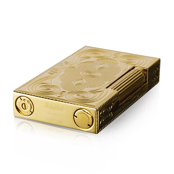 Hộp Quẹt Bật Lửa Gas Đá D60V Họa Tiết Hoa Văn Hoàng Gia Đối Xứng Màu Vàng