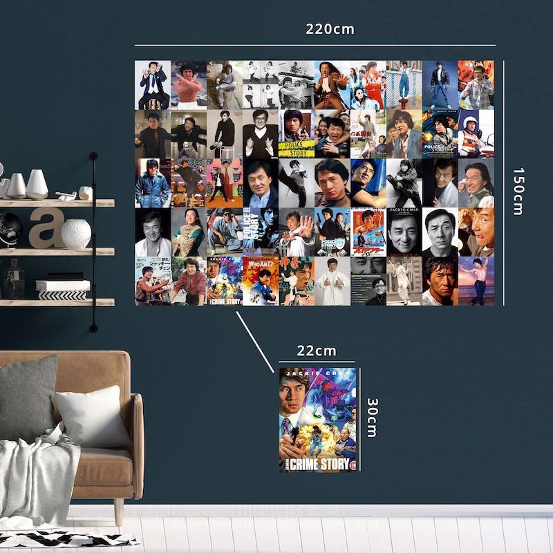 THÀNH LONG JACKIE CHAN - Set 50 tấm 22x30cm decal dán tường trang trí decor quán nhà cửa