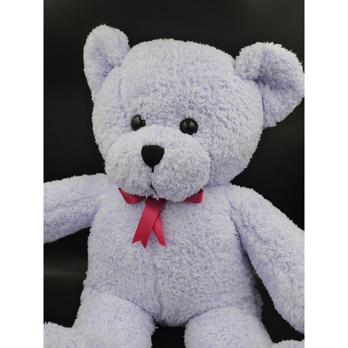 Thú Nhồi Bông Gấu Teddy Tím Lông Xù Siêu Mềm Đeo Nơ 62cm TFH00134