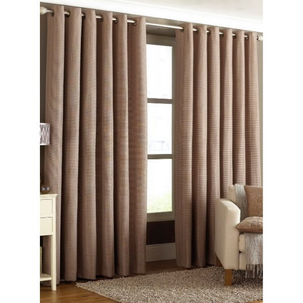 Rèm cửa vải LUCYA18-5 có thanh treo hợp kim nhôm màu gỗ đầu tròn - cao cố định 1m5