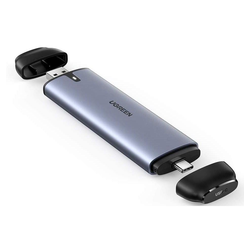Hộp ổ cứng ssd M.2 B-Key NGFF ra type c 3.1 gen 2 và usb 3.0 Ugreen 70533 CM298 Hàng Chính Hãng