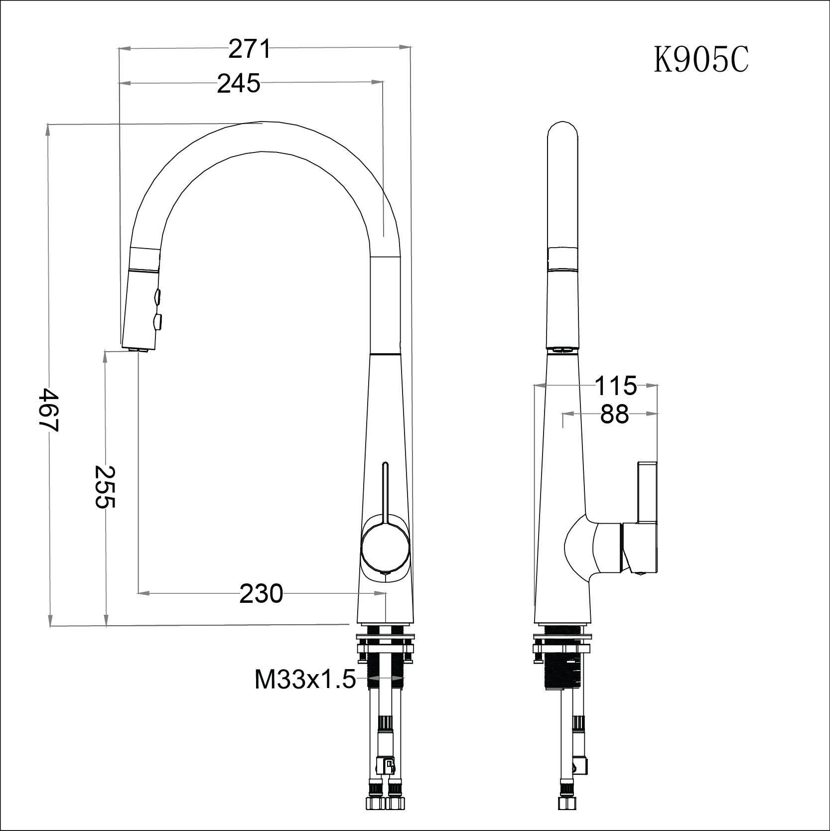 Vòi rửa bát (chén) nóng lạnh gắn chậu có dây rút cổ cao 467 mm - Caesar K905C