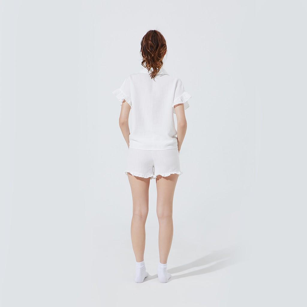 TheBlueTshirt - Misty Morning Top - Áo Cổ V Tay Ngắn Bèo Trắng